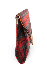 Plaid It All Up Red Plaid Clutch at Lulus.com!