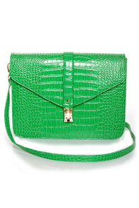 Croc-tail Shaker Green Purse
