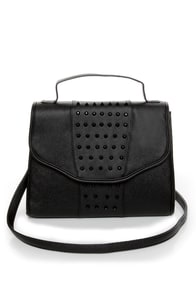 Path of Least Resistance Studded Black Satchel at Lulus.com!