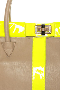 Bright Club Taupe and Neon Yellow Tote at Lulus.com!
