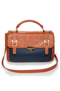 Time After Time Navy Blue and Tan Handbag at Lulus.com!