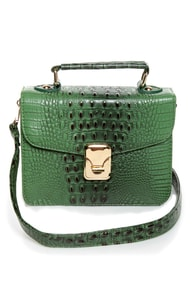 Later Gator Green Alligator Purse