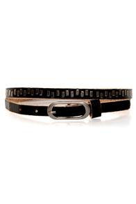 Karma Studded Black Leather Belt
