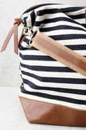 LULUS Exclusive Jet Setter Cream and Black Striped Weekender 2