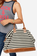 LULUS Exclusive Jet Setter Cream and Black Striped Weekender 7