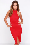 Outstanding Features Red Midi Dress 4