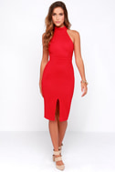 Outstanding Features Red Midi Dress 1