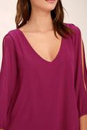 LULUS Exclusive Shifting Dears Magenta Long Sleeve Dress 1