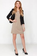 Like You a Latte Black and Beige Striped Dress 2