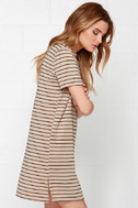 Like You a Latte Black and Beige Striped Dress 3