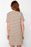 Like You a Latte Black and Beige Striped Dress 4