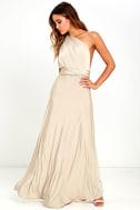 Always Stunning Convertible Beige Maxi Dress 2