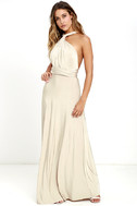 Always Stunning Convertible Beige Maxi Dress 3