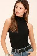 Alive and Kicking Black Sleeveless Turtleneck Top 1