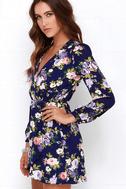 That's a Wrap Navy Blue Floral Print Dress 3