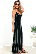 One for the Road Black Striped Maxi Dress 3