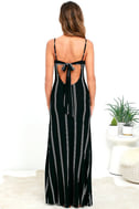 One for the Road Black Striped Maxi Dress 5