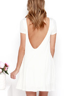Thank You V Much Ivory Backless Swing Dress 4