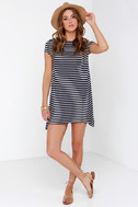 Billabong Last Minute Navy Blue Striped Dress 2