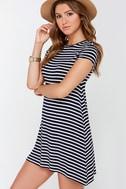 Billabong Last Minute Navy Blue Striped Dress 3
