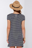 Billabong Last Minute Navy Blue Striped Dress 4