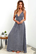 Field Day Navy Blue Print Maxi Dress 1