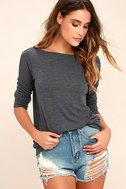 Afternoon Daydream Dark Heather Blue Backless Sweater 3