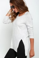 Name the Day Heather Grey V Neck Sweater 3
