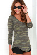 Rank and Style Green Camo Print Long Sleeve Top 3