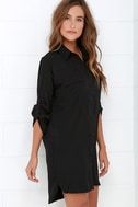 City Strut Black Shirt Dress 3