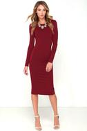 Va Va Voom Wine Red Backless Midi Dress 2