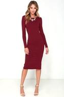 Va Va Voom Wine Red Backless Midi Dress 3