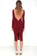 Va Va Voom Wine Red Backless Midi Dress 4