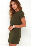 Shift and Shout Olive Green Shift Dress 3