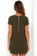 Shift and Shout Olive Green Shift Dress 4