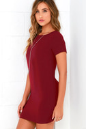 Shift and Shout Wine Red Shift Dress 3