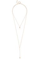 Joli Gold and Champagne Rhinestone Layered Drop Necklace 2