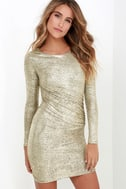 Luxe of My Life Gold Long Sleeve Dress 1