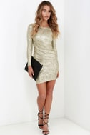 Luxe of My Life Gold Long Sleeve Dress 3