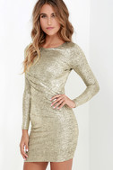 Luxe of My Life Gold Long Sleeve Dress 4