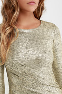 Luxe of My Life Gold Long Sleeve Dress 6