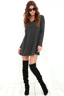 There Goes My Heart Dark Grey Swing Dress 2