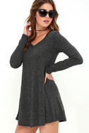 There Goes My Heart Dark Grey Swing Dress 3