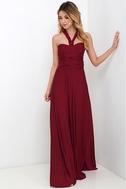 Always Stunning Convertible Burgundy Maxi Dress 1