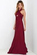 Always Stunning Convertible Burgundy Maxi Dress 3