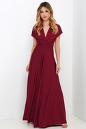 Always Stunning Convertible Burgundy Maxi Dress 4
