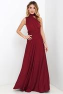 Always Stunning Convertible Burgundy Maxi Dress 6