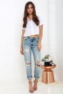 Blank NYC Thrifter Light Wash Distressed Boyfriend Jeans 1