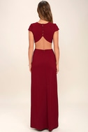 Conversation Piece Wine Red Backless Maxi Dress 4