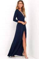 Garden District Navy Blue Wrap Maxi Dress 4